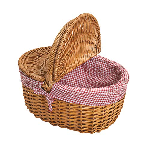 Weide Picknickkorb mit Deckel - Picknick Tragekorb leer / ohne Inhalt Henkelkorb - handlicher Einkaufskorb aus Weide