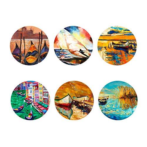 Shinelly Coasters D038W Placemats van vilt, 6-pack rond, tafelset voor binnen en buiten, afwasbaar en onderhoudsvriendelijk, decoratie voor eettafel in de woonkamer, tuintafel, balkontafel D038 9 x 9 cm