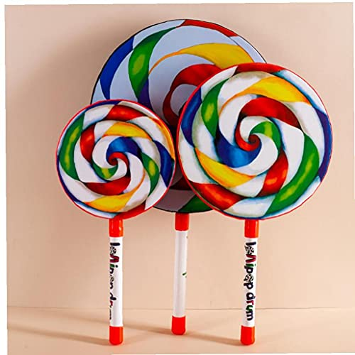 OMMO LEBEINDR Lollipop Drum, Lolipop Shape Drum Kids Mano Drum con Mallet Musical Sound Toy Instrumentos Musicales para Niños 25cm
