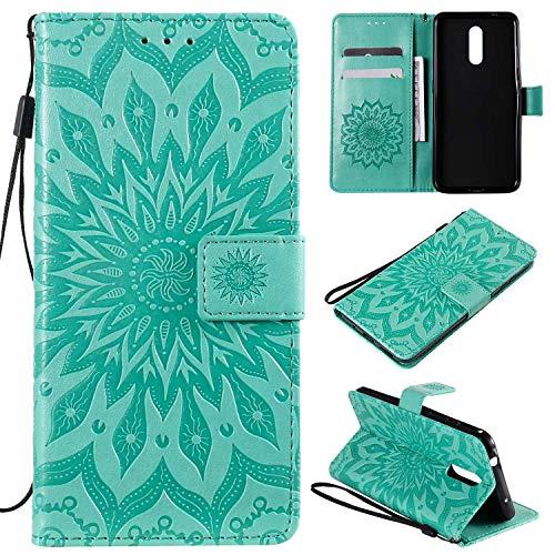 KKEIKO Hülle für Nokia 3.2, PU Leder Brieftasche Schutzhülle Klapphülle, Sun Blumen Design Stoßfest Handyhülle für Nokia 3.2 - Grün