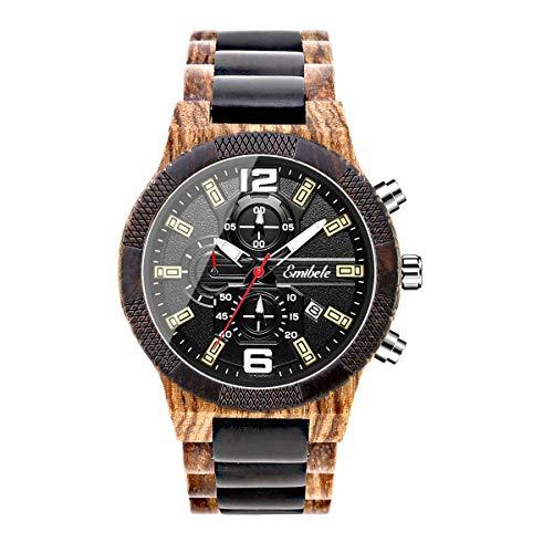 Emibele Herren Holzuhr, Datumsanzeige Chronograph Quarzarmbanduhr, 3 Unterzifferblätter Handgemachte Leicht Leuchtende Uhr - Zebraholz & Ebenholz