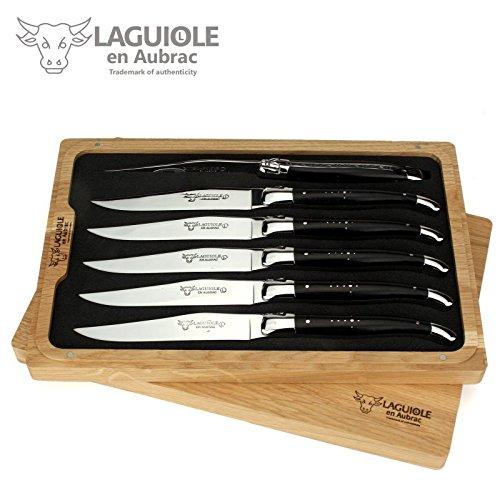 Laguiole en Aubrac - 6er Set Steakmesser Frankreich - Griff Ebenholz - Backen und Klinge glänzend - edle französische Tafelmesser