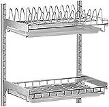 Escurreplatos - pared estante de la cocina 304 de múltiples capas recubierto con acero inoxidable, ajustable en altura, con el hardware,2 mascotas