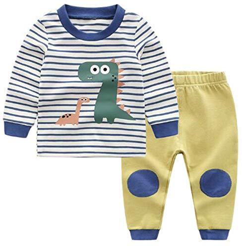 Chilsuessy Jungen Zweiteiliger Schlafanzug Bio Baumwolle Schlafanzug lang - langärmeliger Baby Pyjama Langarm Kinder Winter Lange Nachtwäsche Kind Pyjama, Blau/2, 130/Babyhöhe:120-130cm