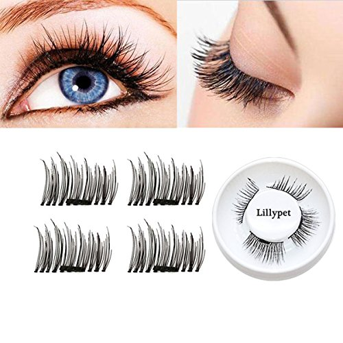 False Magnetic Eyelashes, Lillypet 3D Magnetic False Eyelashes Soft Fake Eyelashes Natural Eye | Mink Eyelashes for Natural Look | Reusable Best Fake Lashes, 1 Pair 4 Pieces