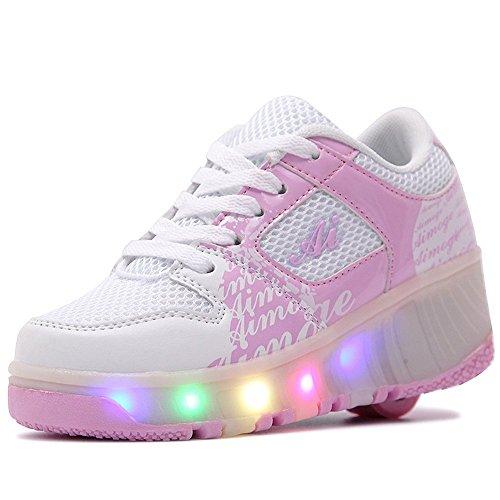 [Star] ローラーシューズ LED 光る靴 ローラースケート 男の子 女の子 キッズスニーカー キッズシューズ カップル靴 ピンク 37