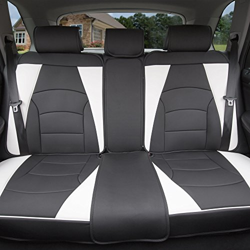 FH Group PU205013 Ultra Comfort Highest Grade Faux Leather Seat Cushions (White) Rear Set – Universal Fit for Cars Trucks & SUVs