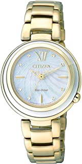 CITIZEN Womens Solar Powered Watch, Analog Display and Stainless Steel Strap EM0336-59D