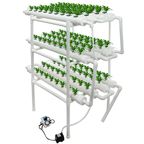 uyoyous Hydroponics Growing System 108 Holes Plant Sites Hydroponic Planting Equipment12 PVC Pipes Leafy Vegetables Tool Hydroponic Grow Complete Kit Balcony Garden
