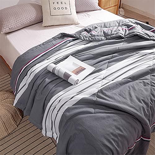 Fansu Tagesdecke Bettüberwurf Steppdecke Mikrofaser Doppelbett Einselbetten Gesteppt Bettwäsche Sofaüberwurf Wohndecke Bettdecke Stepp Gesteppter Quilt (Graue Streifen,180x220cm)