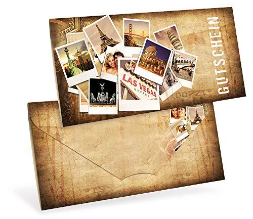 Gutscheinkarten (10 Stück) - Geschenkgutscheine für Urlaub, Reisen, Städtetrip - DIN lang Faltkarte verschließbar, blanko Vordruck zum Eintragen der Werte