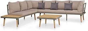 vidaXL 4 Piece Solid Acacia Wood Garden Lounge Set with Cushions Outdoor Sofa Sets Patio Furniture Weather Resistant Durable Brown