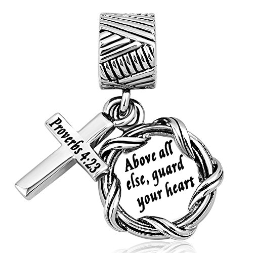 Lifequeen Cross Charm Religious Christian Holy Bible Heart Charms Bead for European Bracelets (Above All Else, Guard Your Heart)