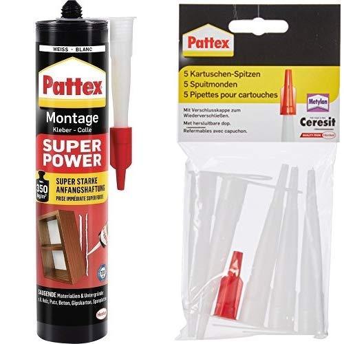 Pattex Montagekleber Super Power, Kleber mit superstarker Anfangshaftung 1x370g & Pattex Kartuschenspitzen 5 Stück