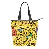 Awesome Emoticon - Bolso de lona para mujer, color amarillo y rojo