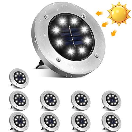 Solar Bodenleuchten, ulocool 10 Stücke Solarleuchten Solarlampen Gartenleuchten für Außen, IP65 Wasserdicht Edelstahl Außenleuchte für Lawn, Pathway, Patio, Garden, Hof, Auffahrt(Kaltweiß)