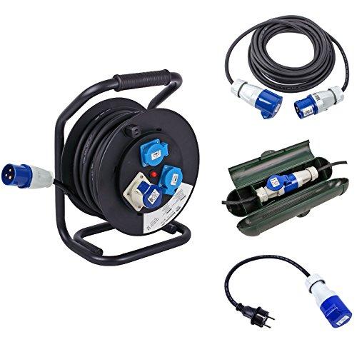 CEE Camping Set bestehend aus Kabeltrommel 25M - 10M Kabel - Sicherheitsbox - Adapter Schuko für Wohnwagen und Wohnmobil