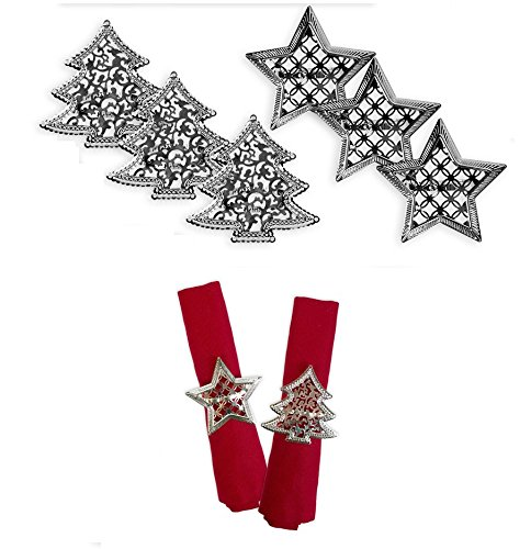 Napkin Rings Set of 6 Silver Napkin Rings Christmas Tree Star Christmas Lunch Party Tableware Christmas Decorations Napkin Holder