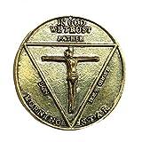 Dailygocn Pentecostal Moneda Satan Coin Morningstar Dorado&Plateado Zinc con Caja para Regalo Vintage Colección Costume Accesorio (Oro)