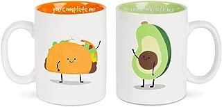 Pavilion Gift Company 74700 Taco & Avocado Complimentary Dishwasher Safe Coffee Mugs, 18 oz, Multicolor
