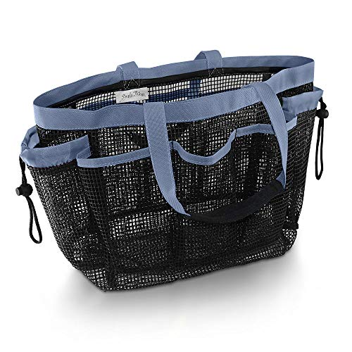 Simply Things Heavy Duty Mesh Shower Caddy and Tote with 9 Storage Compartments and 2 Reinforced Handles, This Mesh Shower Bag is Quick Drying for Dorm, Gym, Camping, or Travel - (Grey)