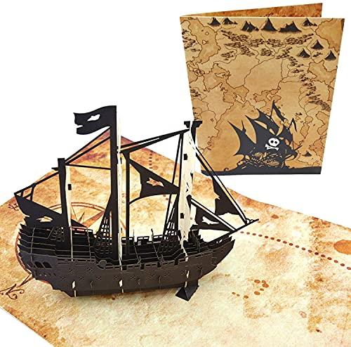 PopLife Cards Barco pirata y mapa del tesoro tarjeta de felicitación emergente en 3D para todas las ocasiones -el día del padre, feliz cumpleaños, graduación, jubilados cazadores de tesoros, piratas