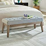 24KF Velvet Upholstered Tufted Bench with Solid Wood Leg,Ottoman with Padded Seat- Gray