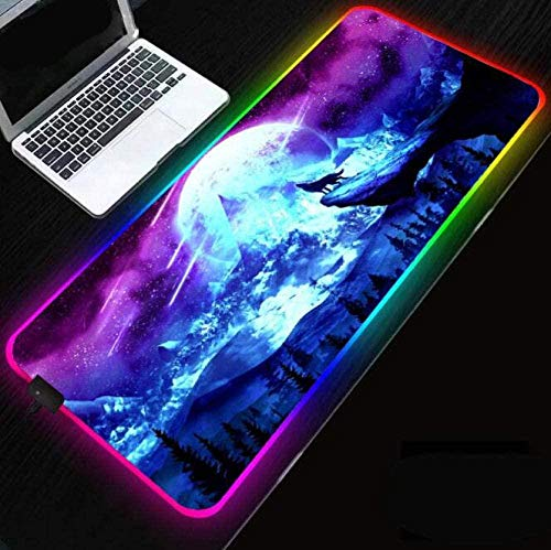 BOIPEEI RGB Mouse Pad Starry Wolf Animal Gaming RGB RGB Mouse Pad Computer Mousepad Backlit LED Mouse Large for Desk Keyboard Mice Mat(30x80cm)