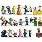 スーパーマリオアクションフィギュアモデルキット 23個/セット おもちゃ マリオ、ルイージ、ヨッシー、メアリープリンセス、カメ、マッシュルーム、オランウータンパーフェクトスーパーマリオケーキトッパーデコレーション 1.4インチ~2.7インチ