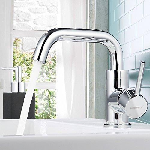 ubeegol Messing Chrom Wasserhahn Bad 360° drehbar Waschtischarmatur Waschbeckenarmatur Badarmatur Waschbecken Armatur Waschtisch Mischbatterie Einhebelmischer