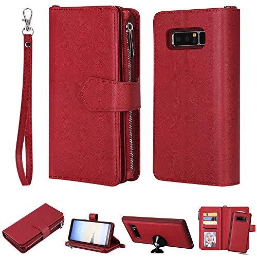 DodoBuy 2in1 Zipper Funda para Samsung Galaxy Note 8, Magnético Desmontable Flip Wallet Case Cremallera Cover Piel PU Billetera Soporte con Ranuras Tarjetas Correa para la Muñeca - Rojo