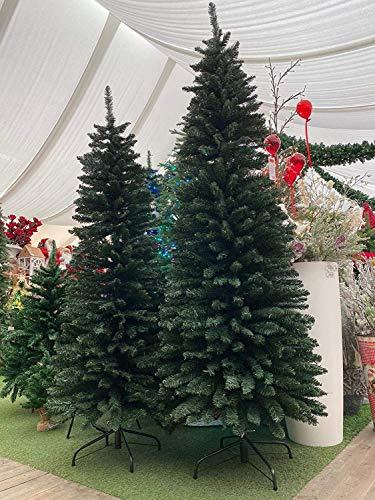 XONE Albero di Natale Slim Dimitri Verde 180cm | Albero Artificiale in PVC Snello per spazi Piccoli | Abete di Natale Realistico salvaspazio