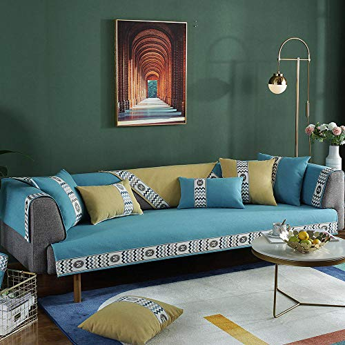 Funda protectora para sofá,manta cubre sofa,Protector de sofá de 1/2/3/4 plazas,funda de sofá antideslizante a rayas,cojín de tela universal Resistente a mascotas -amarillo_90 * 70-Vendido por pieza