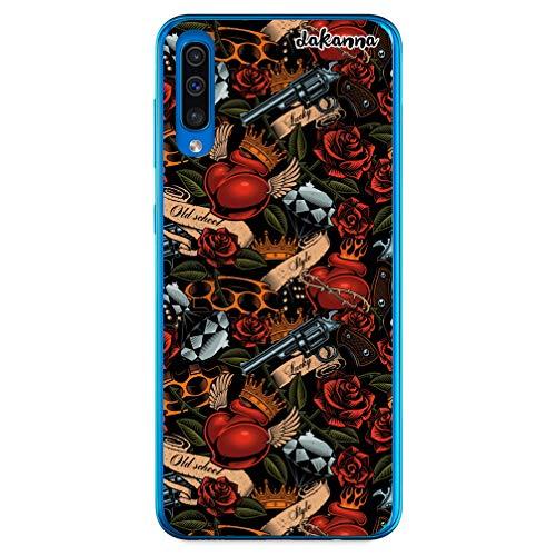 dakanna Kompatibel mit [Samsung Galaxy A70] Flexible Silikon-Handy-Hülle [Transparent] Tattoo-Stil Old School mit Pistolen und Rosen Design, TPU Case Cover Schutzhülle für Dein Smartphone