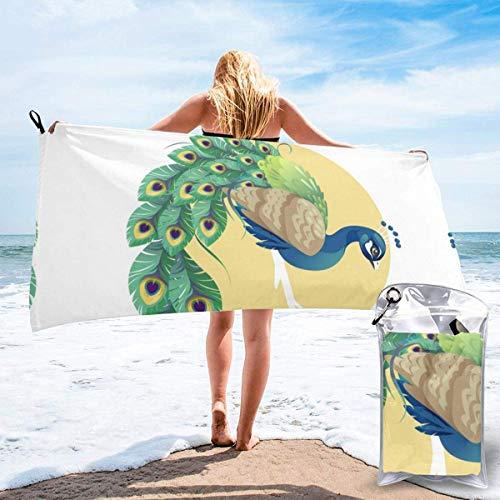 Beach Towels Hermoso pavo real Toalla ligera de secado rápido Toalla súper absorbente sin arena para viajes, natación, gimnasio, yoga 140X70CM