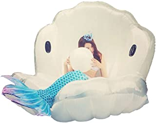 Inflatable Float Swimming Aids Pool Giant Shell Swim Floaties Animal Bird Ride Floating Boat Summer Lounger Raft Beach Toys Outdoor for Adults & Children White 67 x 51 x 39inch