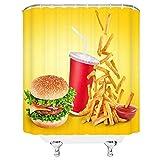 Duschvorhang Burger Pommes Pizza mit Lebensmitteln, Polyester, wasserdicht, für Badezimmer, Badezimmer, Heimdekoration, 180 x 180 cm