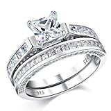 Wuziwen Wedding Rings for Women Cubic Zirconia Cz Sterling Silver Vintage Engagement Ring Bridal Set Size 6