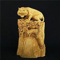 彫像置物彫刻ボックスウッド彫刻タイガー特異な事務用品ルートカービング家の装飾木製の装飾品注目のt