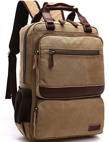 Aidonger Unisex Vintage Canvas Schulrucksack Laptop Rucksack Daypack (Khaki)