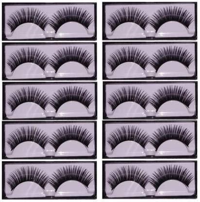 INENCE 10 Pair Thick Crisscross Long False Eyelashes Fake Eye Lashes Voluminous Makeup Eyelashes (Pack of 10)