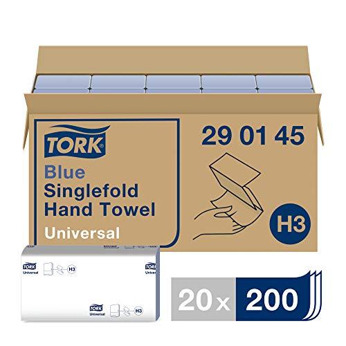 Tork Blue Singlefold Hand Towels 290145 - H3 Universal Paper Folded Towels for Singlefold Dispensers - Economic, 1-Ply, Blue - 20 x 200 Sheets