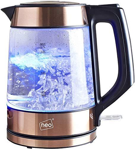 Neo Kabellos Nordisch Beleuchtet Glas Wasserkocher - Kupfer, 15 x 20 x 23 CM