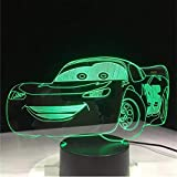 zonxn Boys Birthday Gift Lightning McQueen Route 66 Your Racing Car 3D 7 Color Lamp Visual Led Night Lights for Kids Touch USB Table Lamp