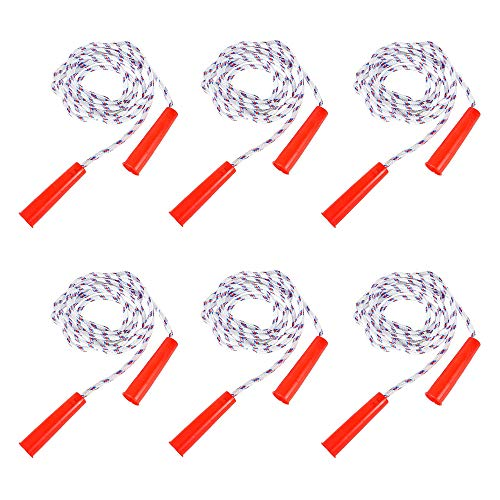 The Dreidel Company Durable Jump Ropes for Kids, Nylon with Plastic Handles, Indoor & Outdoor Skipping Activity, Party Favors, 84' (6-Pack)