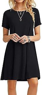 Women's Casual Plain Simple T-Shirt Loose Dress