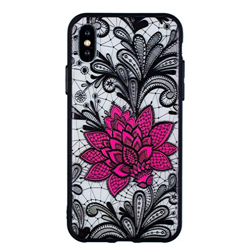 Keyihan Funda para iPhone 6 y iPhone 6S (4,7 Pulgadas) Flor de Encaje en Relieve Datura Tótem Mandala Patrón Anti-choques Carcasa Duro con Borde Suave Bumper Case (Negro Rosa Loto)