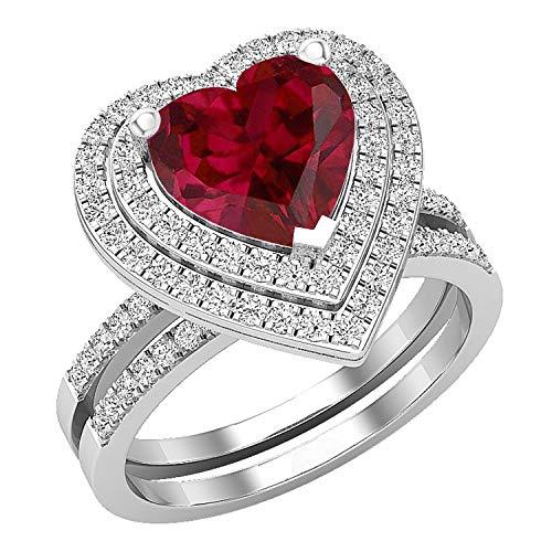 Dazzlingrock Collection Juego de anillos de compromiso de oro blanco de 14 quilates con rubí y diamante blanco natural redondo de 8 mm, tamaño 8