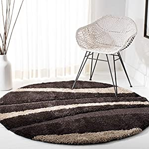 SAFAVIEH Florida Shag Collection SG451 Abstract Stripe Non-Shedding Living Room Bedroom Dining Room Entryway Plush 1.2-inch Thick Area Rug, 6'7″ x 6'7″ Round, Dark Brown / Beige