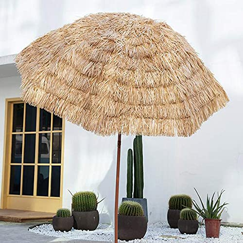 MANG Sombrilla De Playa De Paja Sombrilla De Jardín con Manivela Inclinación Parasol para Terraza Estilo Hawaiano Protector Solar Uv50 240cm